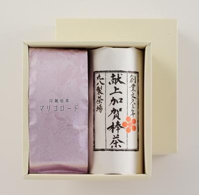 「献上加賀棒茶」と秋冬限定商品「印雑焙茶 マリコロード」の詰合せです。